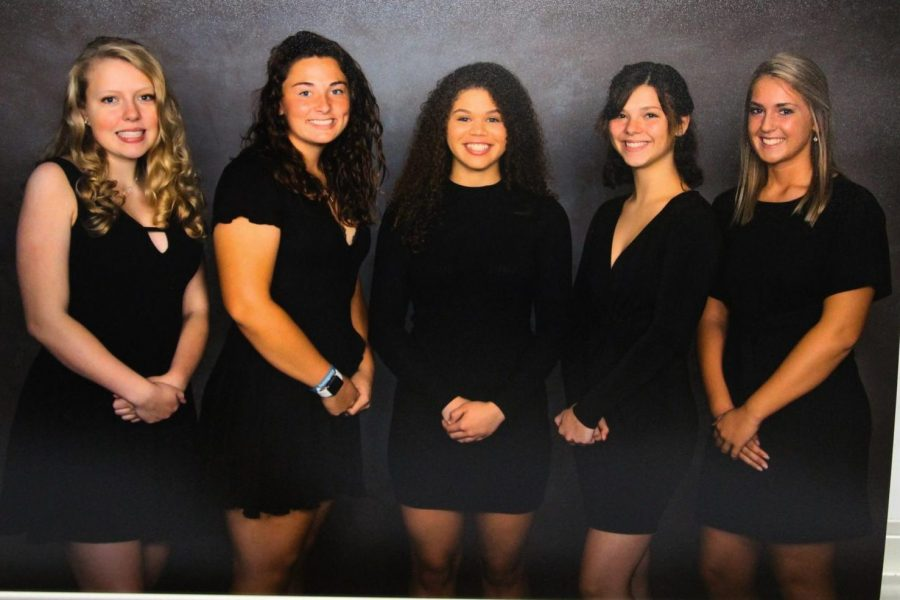 Seniors Felicia Cunningham (l to r), Claire Ouellette, Stacia Tipton, Taryn Hass, and Kennedy Bostwick comprise the Senior Class homecoming court for 2019.