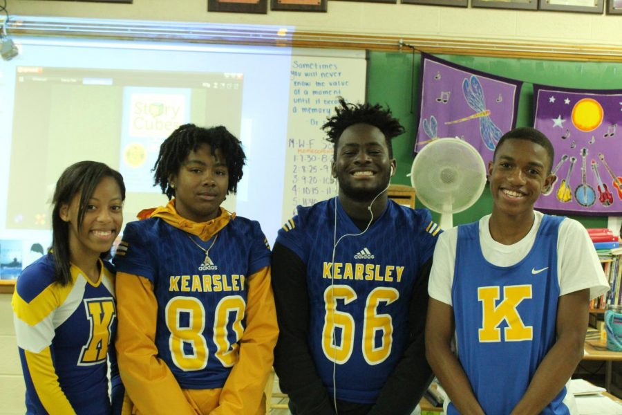 Seniors Sierra Walker, Asia Donald, Amari Douglas, and Raydoffa Braziel show their Kearsley athletics pride Friday, Oct. 11, for Blue and Gold Day.