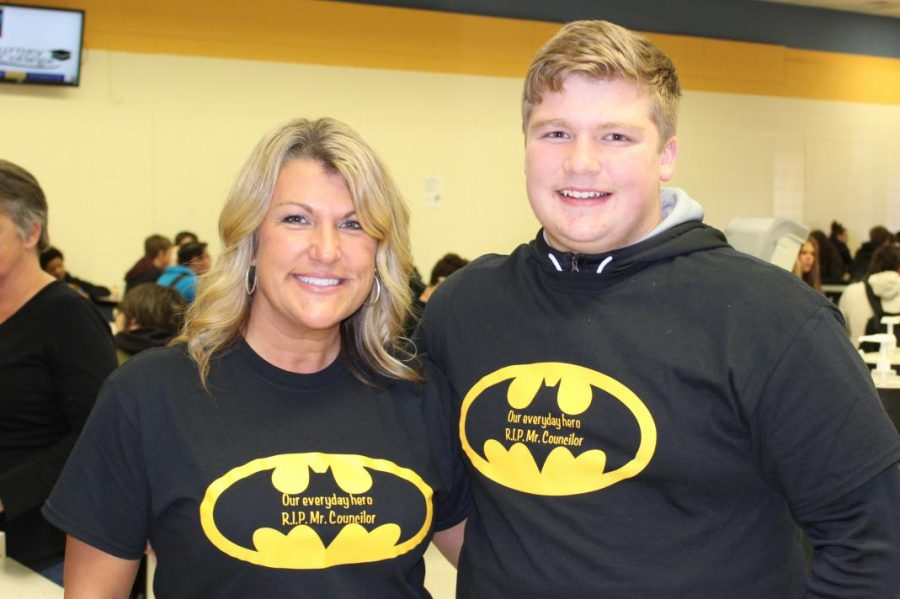 Mrs. Angie Ayre (l to r) and freshmen Dominic DiGenova wear  Batman shirts dedicated to Mr. Edward Councilor Nov. 25.