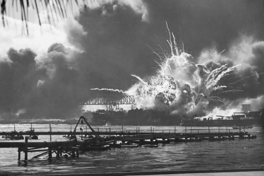 Japanese planes bomb the U.S. Navy base at Pearl Harbor, Hawaii, Dec. 7, 1941. The attack occurred 78 years ago.