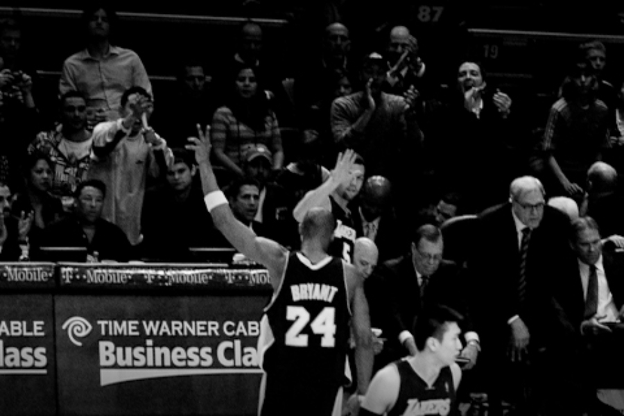 Kobe Bryant celebrates after his 61-point game against the New York Knicks Feb. 2, 2009.