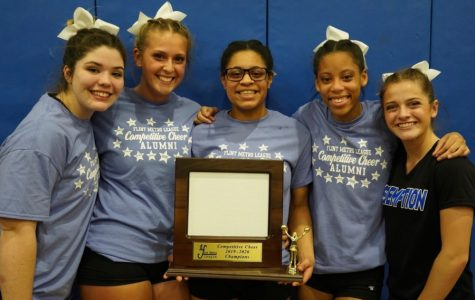 (l to r) Seniors Autumn Lay, Kennedy Bostwick, Katia Traeye, Sierra Walker, and Alyssa Smith pose with their first place trophy