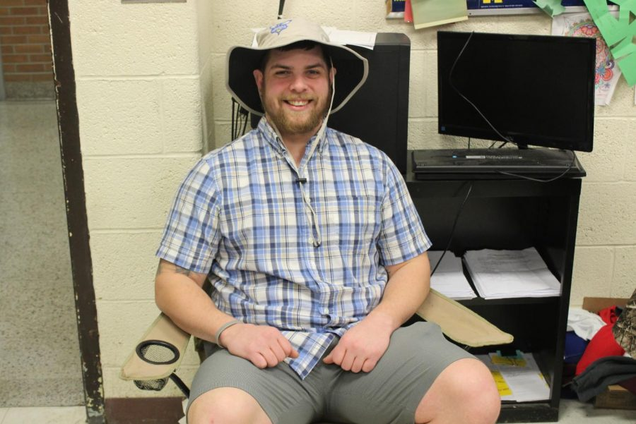 Mr. Nick Vanduser chilling out on his lawn chair for beach day Thursday.