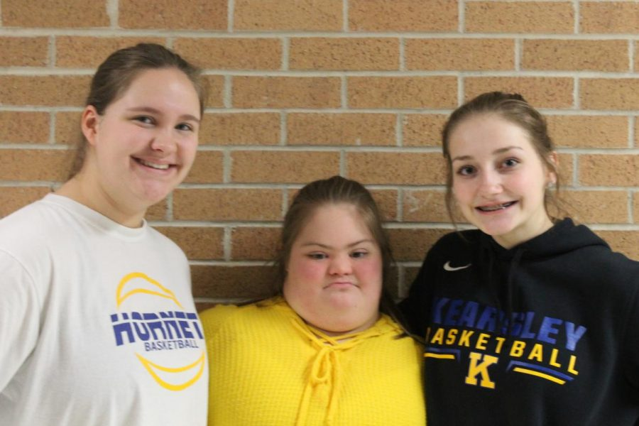 Sophomore Emily Schanick (L to R), Freshman Charlotte Jackman and Emma Stemple posing while wearing their spirit wear.