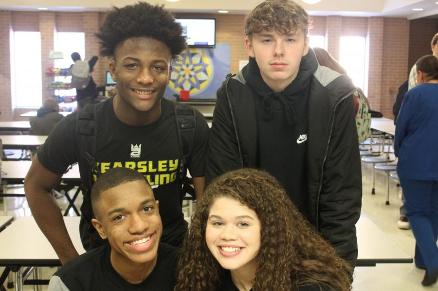 Seniors Laron Ruffin (L to R),Jaden Mullay, Raydoffa Braziel and Stacia Tipton wear their black to represent seniors.