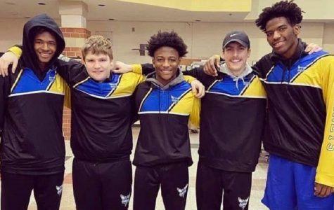 Junior Rodney Richards (l to r), freshman Dominik DiGenova, seniors LaRon Ruffin, Trenton DiGenova, and John Brown qualified for the MHSAA Division 3 individual state tournament with their success at a regional qualifier Saturday, Feb. 22, in Gaylord.
