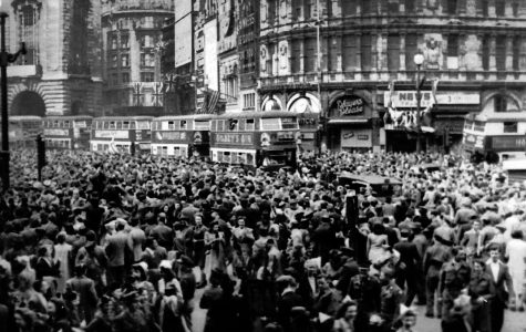 British citizens celebrate Victory over Europe in London's Piccadilly Circus May 8, 1945. Friday marks the 75th anniversary of the Nazi surrender.
