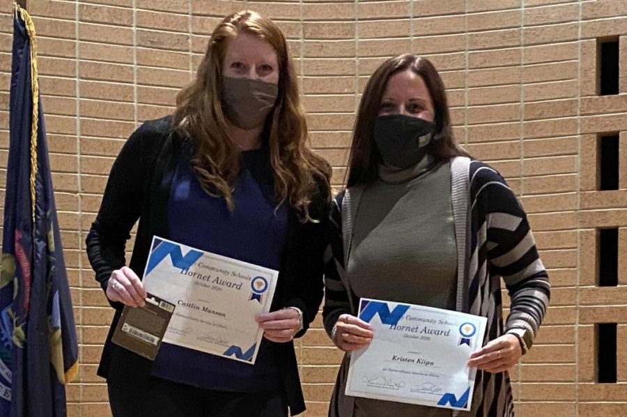 Mrs. Caitlin Manson l to r) and Mrs. Kristen Klipa won the Hornet Award Monday, Oct. 12.