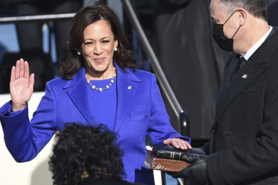 Vice+President+Kamala+Harris+is+sworn+in+Jan.+20+in+front+of+the+Capital+Building.
